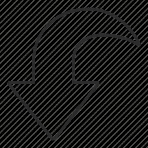 arrow, back, down, ui icon