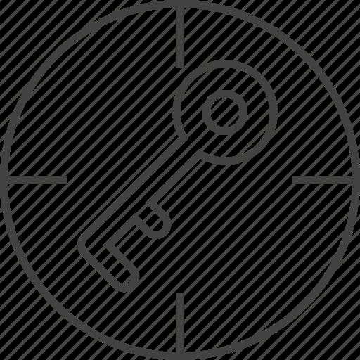 aim, focus, key, keyword, purpose, success, target icon