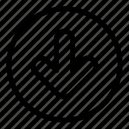 arrow, bottom, down, move icon