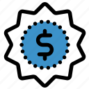 badge, dollar, finance, money, premium, price, quality icon
