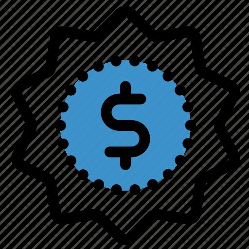 badge, dollar, finance, money, premium, price, quality icon
