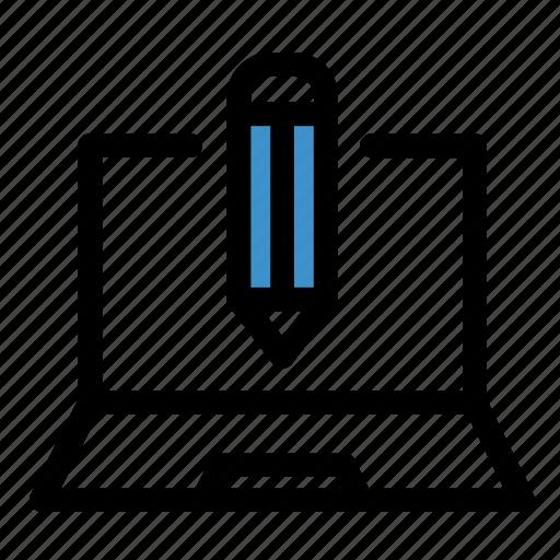 computer, design, development, draw, edit, laptop, write icon