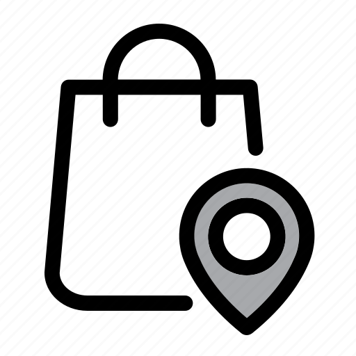 bag, ecommerce, location, pin, shop, shop location, shopping bag icon