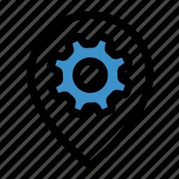 cog, gear, gps, location, navigation, options, settings icon