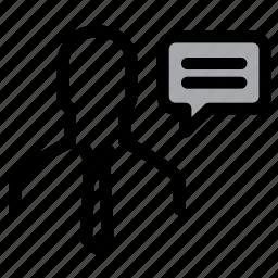 businessman, chat, communication, conversation, speech, talk, user icon