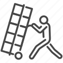 cart, delivery, heavy, labor, overweight, porter, staff icon