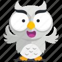 emoji, emoticon, owl, smiley, sticker icon
