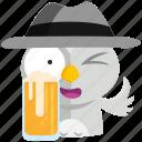 beer, drink, emoji, emoticon, owl, smiley, sticker icon