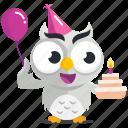 birthday, cake, emoji, emoticon, owl, smiley, sticker icon
