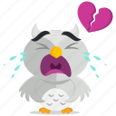 broken, emoji, emoticon, heart, owl, smiley, sticker icon