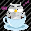 caffeine, coffee, emoji, emoticon, owl, smiley, sticker icon
