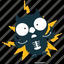 electricuted, emoji, emoticon, owl, smiley, sticker icon