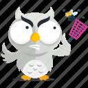 emoji, emoticon, insect, kill, owl, smiley, sticker icon