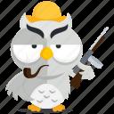 emoji, emoticon, mobster, owl, smiley, sticker, weapon icon
