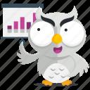 emoji, emoticon, owl, presentation, smiley, sticker icon