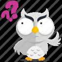emoji, emoticon, owl, question, smiley, sticker, wonder icon
