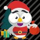 emoji, emoticon, owl, santa, smiley, sticker icon