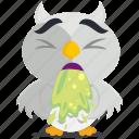 emoji, emoticon, owl, sick, smiley, sticker