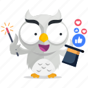 emoji, emoticon, media, owl, smiley, social, sticker icon