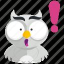 emoji, emoticon, exclaimation, owl, smiley, sticker, surprise icon