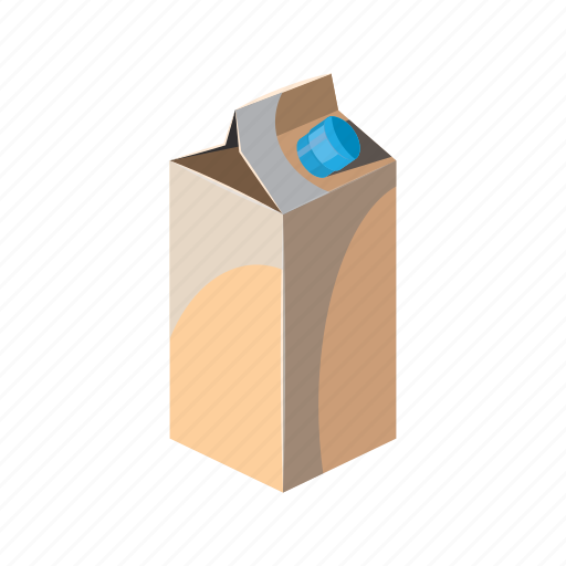 box, carton, cartoon, container, liquid, milk, pack icon