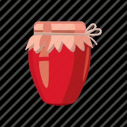 cartoon, dessert, food, fruit, glass, jam, jar icon