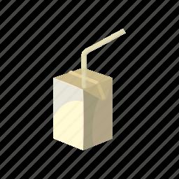 box, carton, cartoon, drink, milk, pack, straw icon