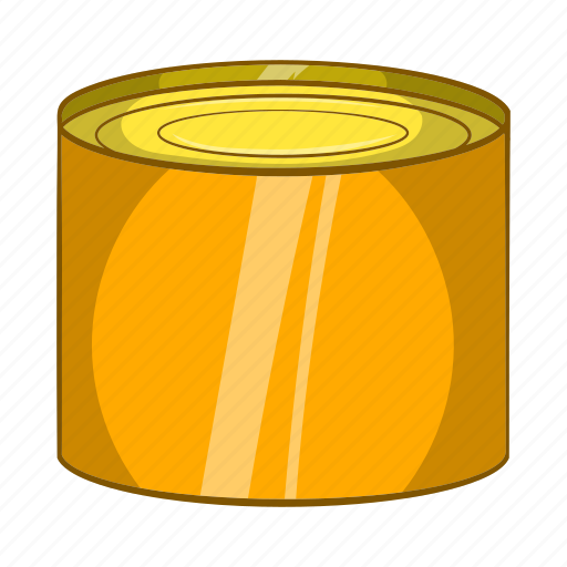 can, cartoon, container, metal, packaging, sign, tin icon