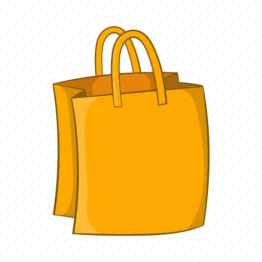bag, cartoon, gift, handles, package, shop, sign icon