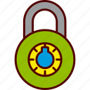 closed, combination, lock, locked, padlock, secure, security icon