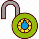 combination, lock, padlock, unlock, unlocked, unsecure icon