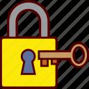key, lock, open, opening, padlock icon