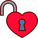 heart, lock, love, open, padlock, unlocked icon