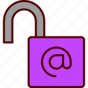 decoded, internet, key, lock, open, padlock, pasword, unlocked icon