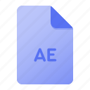 ae, document, extension, file, file format, format, page icon