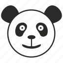 animal, bear, head, panda, smile icon
