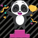 award, emoji, emoticon, panda, smiley, sticker, winner icon