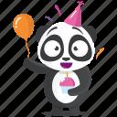 birthday, celebration, emoji, emoticon, panda, smiley, sticker icon