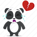 broken, emoji, emoticon, heart, panda, smiley, sticker icon