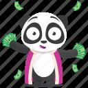 cash, emoji, emoticon, panda, rich, smiley, sticker icon
