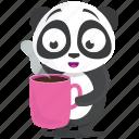 coffee, drink, emoji, emoticon, panda, smiley, sticker icon