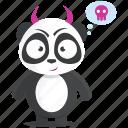 devil, emoji, emoticon, evil, panda, smiley, sticker icon