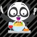 emoji, emoticon, food, panda, smiley, sticker icon