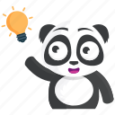 emoji, emoticon, idea, panda, smiley, sticker, thought icon