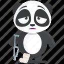 emoji, emoticon, injured, injury, panda, smiley, sticker icon