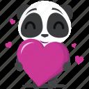 emoji, panda, emoticon, romance, smiley, sticker, love icon