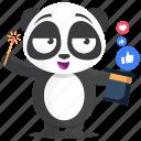 emoji, emoticon, magic, panda, smiley, social, sticker icon