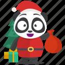 emoji, emoticon, panda, santa, smiley, sticker icon