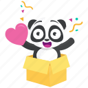 emoji, emoticon, love, panda, smiley, sticker, surprise icon