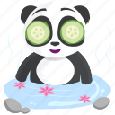 emoji, panda, emoticon, wellness, smiley, sticker, spa icon